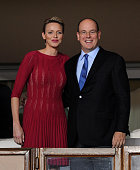 Prince Albert II of Monaco looks on next to his wife Princess Charlene during the match between Chelsea and Atletico Madrid at Louis II Stadium on...