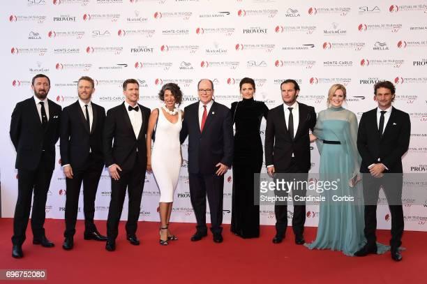 Prince Albert II of Monaco pose with The Cast of 'Absentia' Ralph Ineson Patrick Heusinger Maria Feldman Stana Katic Neil Jackson Patrick Heusinger...