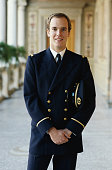 Prince Albert II of Monaco poses in his naval uniform of the Principality of Monaco at the Royal Palace in Monaco December 1983 in Monte Carlo Monaco