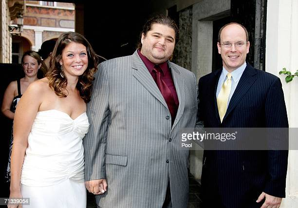 Prince Albert II of Monaco poses with Lost actor Jorge Garcia and partner at the Palais during the 46th annual Monte Carlo Television Festival at the...