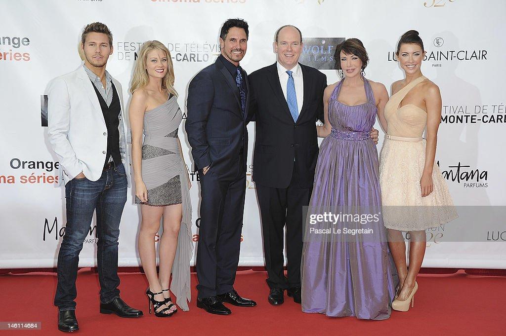 Prince Albert II of Monaco poses with the 'Bold Beautiful' cast Scott Clifton Kim Matula Don Diamont Hunter Tylo and Jacqueline Mac Innes Wood as...