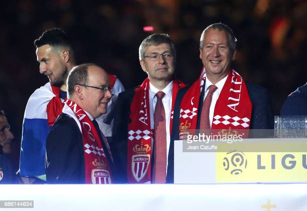 Prince Albert II of Monaco President of AS Monaco Dmitri Rybolovlev Vice President of AS Monaco Vadim Vasilyev during the French League 1...