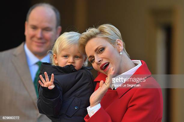 Prince Albert II of Monaco Prince Jacques of Monaco and Princess Charlene Of Monaco attend the annual Christmas gifts distribution at Monaco Palace...