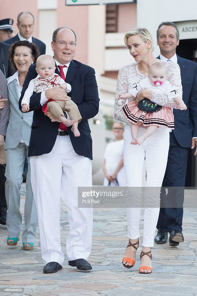 <a gi-track='captionPersonalityLinkClicked' href=/galleries/search?phrase=Prince+Albert+II+of+Monaco&family=editorial&specificpeople=201707 ng-click='$event.stopPropagation()'>Prince Albert II of Monaco</a>, Prince <a gi-track='captionPersonalityLinkClicked' href=/galleries/search?phrase=Jacques+-+Hereditary+Prince+of+Monaco&family=editorial&specificpeople=13792305 ng-click='$event.stopPropagation()'>Jacques</a>, Princess <a gi-track='captionPersonalityLinkClicked' href=/galleries/search?phrase=Charlene+-+Princess+of+Monaco&family=editorial&specificpeople=726115 ng-click='$event.stopPropagation()'>Charlene</a> of Monaco and <a gi-track='captionPersonalityLinkClicked' href=/galleries/search?phrase=Princess+Gabriella+-+Countess+of+Carlad%C3%A8s&family=editorial&specificpeople=13792307 ng-click='$event.stopPropagation()'>Princess Gabriella</a> are welcomed by dancers wearing traditional costumes during the annual traditional 'Pique Nique Monegasque' on August 28, 2015 in Monaco, Monaco.