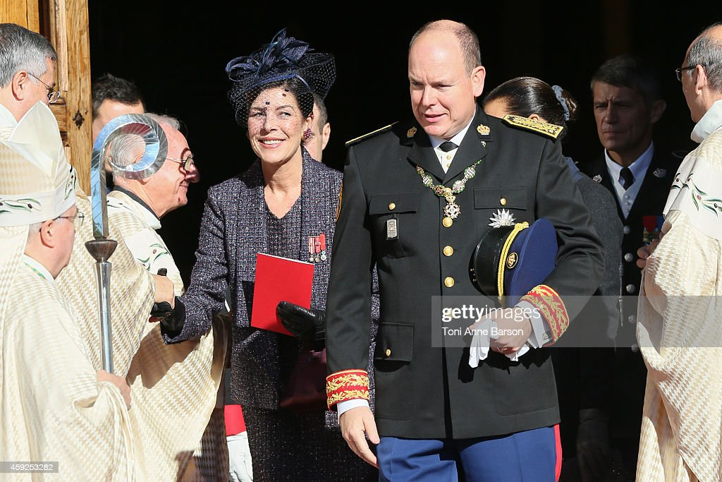 <a gi-track='captionPersonalityLinkClicked' href=/galleries/search?phrase=Prince+Albert+II+of+Monaco&family=editorial&specificpeople=201707 ng-click='$event.stopPropagation()'>Prince Albert II of Monaco</a>, Princess Caroline of Hanover and <a gi-track='captionPersonalityLinkClicked' href=/galleries/search?phrase=Princess+Stephanie+of+Monaco&family=editorial&specificpeople=171100 ng-click='$event.stopPropagation()'>Princess Stephanie of Monaco</a> leave the Cathedral of Monaco after a mass during the official ceremonies for the Monaco National Day at Cathedrale Notre-Dame-Immaculee de Monaco as part of Monaco National Day Celebrations on November 19, 2014 in Monaco, Monaco.