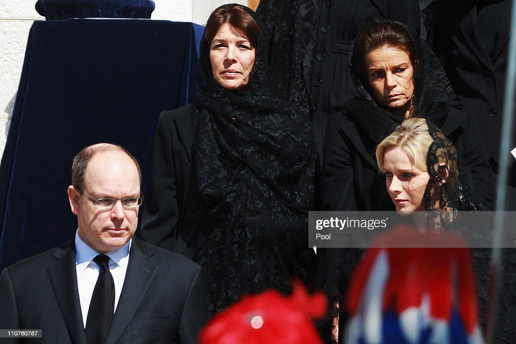 Prince Albert II of Monaco, Princess Caroline of Hanover, Princess Stephanie of Monaco and Charlene Wittstock attend the funeral of Princess Melanie-Antoinette at Cathedrale Notre-Dame-Immaculee de Monaco on March 24, 2011 in Monaco, Monaco. ((Photo by Pool/Getty Images))