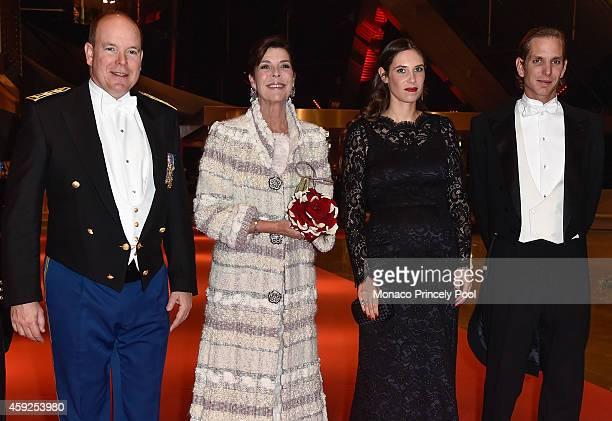 Prince Albert II of Monaco Princess Caroline of Hanover Tatiana Santo Domingo and Andrea Casiraghi attend the Monaco National Day Gala at Grimaldi...