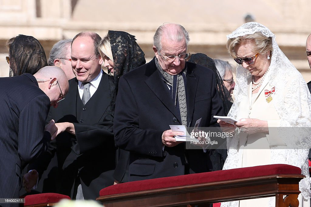 Prince Albert II of Monaco, Princess Charlene, Albert II of Belgium and Queen Paola of Belgium attend the Inauguration Mass of Pope Francis in St. Peter's Square for his Inauguration Mass on March 19, 2013 in Vatican City, Vatican. The inauguration of Pope Francis is being held in front of an expected crowd of up to one million pilgrims and faithful who have crowded into St Peter's Square and the surrounding streets to see the former Cardinal of Buenos Aires officially take up his position. Pope Francis' inauguration takes place in front his cardinals, spiritual leaders as well as heads of states from around the world and he will now lead an estimated 1.3 billion Catholics.