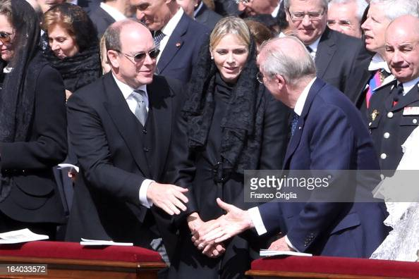 Prince Albert II of Monaco Princess Charlene and Albert II of Belgium attend the Inauguration Mass of Pope Francis in St Peter's Square for his...