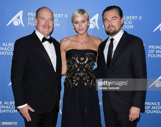 Prince Albert II of Monaco Princess Charlene of Monaco and Leonardo DiCaprio attend the inaugural 'MonteCarlo Gala for the Global Ocean' honoring...
