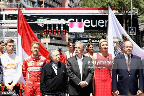 Prince Albert II of Monaco Princess Charlene of Monaco Max Verstappen of Netherlands and Red Bull Racing Sebastian Vettel of Germany and Ferrari FIA...