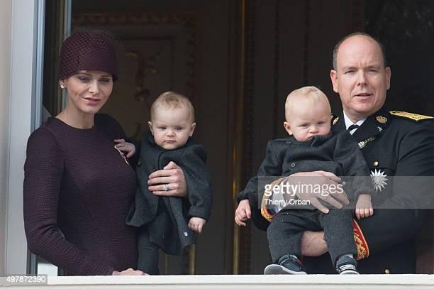 Prince Albert II of Monaco Princess Charlene of Monaco Princess Gabriella and Prince Jacques appear on the balcony of the Palace of Monaco for...