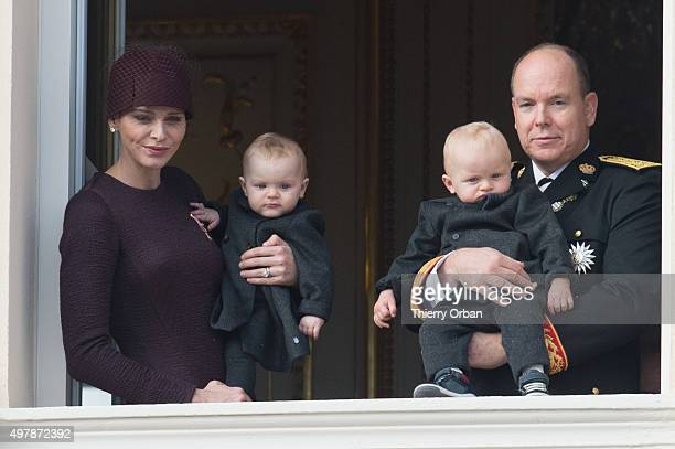 Prince Albert II of Monaco Princess Charlene of Monaco Princess Gabriella and Prince Jacques appear on the balcony of the Palace of Monaco for...