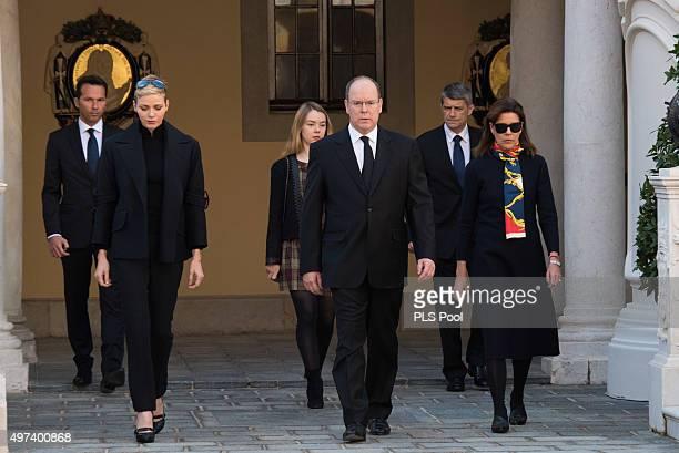 Prince Albert II of Monaco Princess Charlene of Monaco Princess Caroline of Hanover and Princess Alexandra of Hanover attend a minute of silence for...