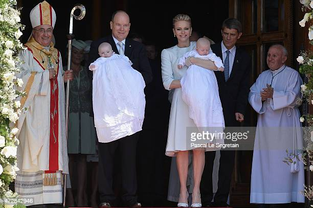 Prince Albert II of Monaco Princess Gabriella of Monaco Prince Jacques of Monaco and Princess Charlene of Monaco attend The Baptism Of The Princely...
