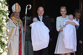 Prince Albert II of Monaco Princess Gabriella of Monaco Prince Jacques of Monaco and Princess Charlene of Monaco attend The Baptism Of The Princely...