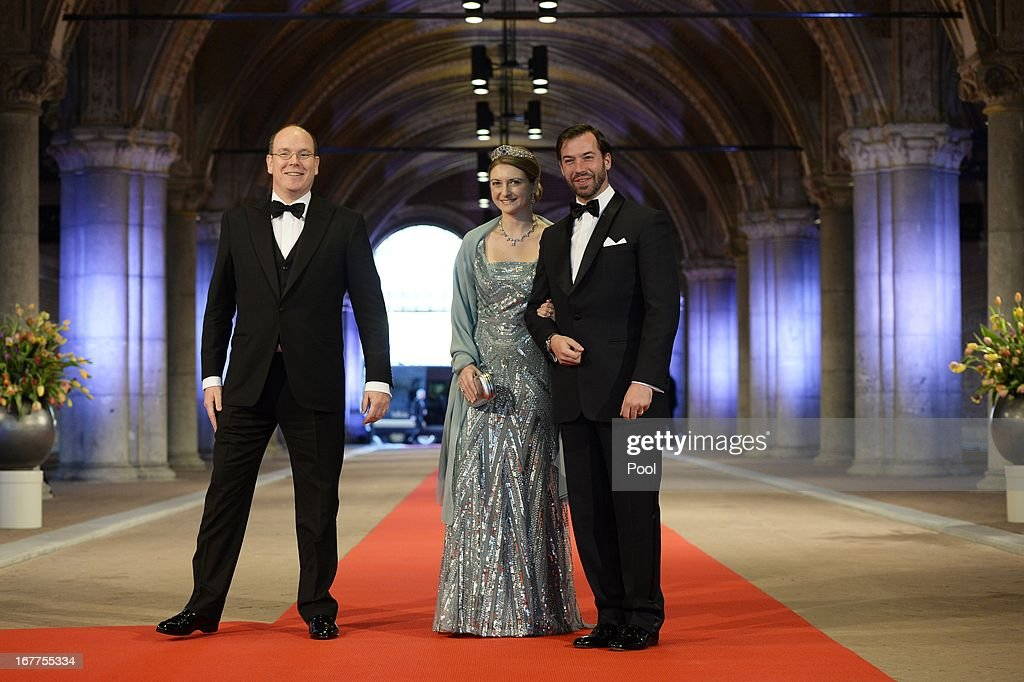 Prince Albert II of Monaco, Princess Stephanie of Luxembourg and Prince Guillaume of Luxembourg arrive to attend a dinner hosted by Queen Beatrix of The Netherlands ahead of her abdication at Rijksmuseum on April 29, 2013 in Amsterdam, Netherlands.
