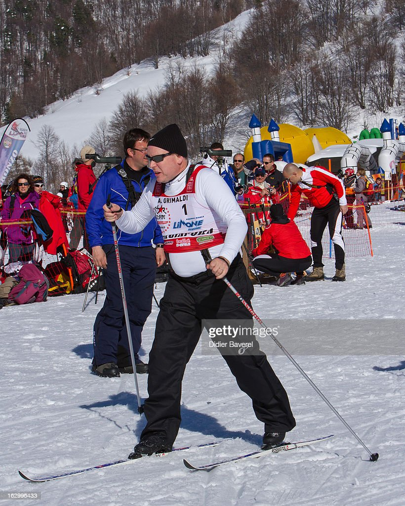Prince Albert II of Monaco races during the Biatlhon Charity Ski Race To Collect Donations For 'Star Team For The Children MC' on March 2, 2013 in Limone, Italy.