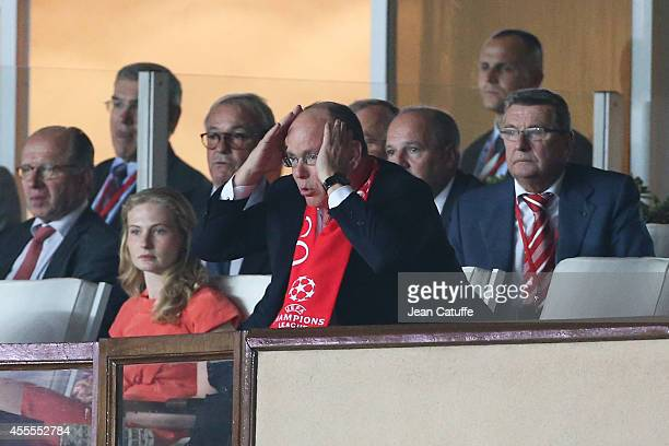 Prince Albert II of Monaco reacts during the UEFA Champions League Group C match between AS Monaco FC and Bayer 04 Leverkusen at Louis II Stadium on...
