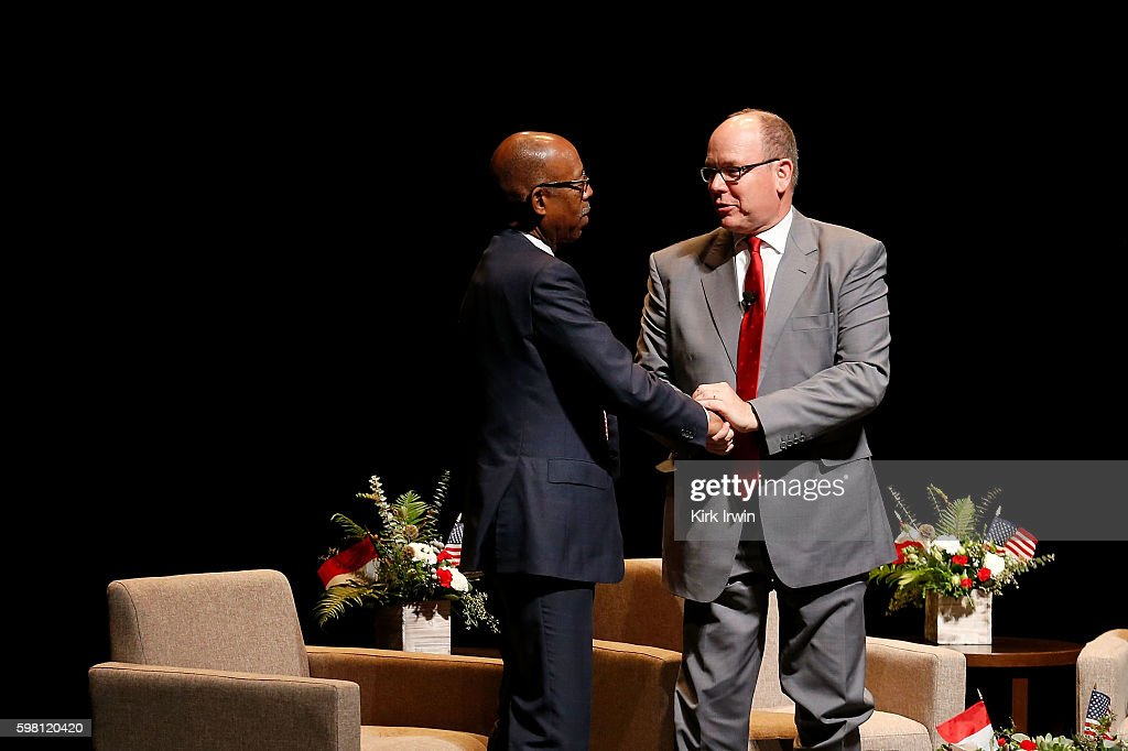 H Prince Albert II of Monaco shakes hands with Ohio State University President Michael Drake after giving a talk and answering questions regarding...