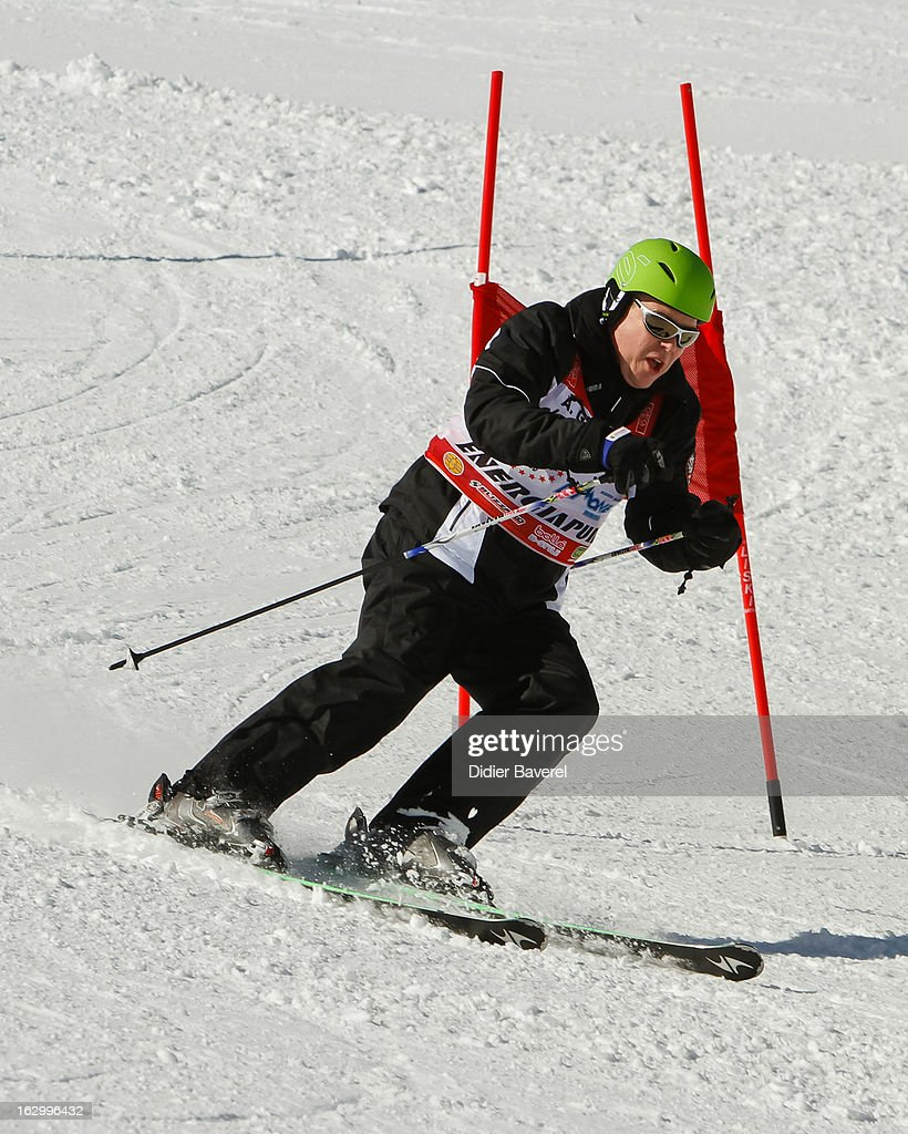 Prince Albert II of Monaco skis during Charity Ski Race To Collect Donations For 'Star Team For The Children MC' on March 2, 2013 in Limone, Italy.
