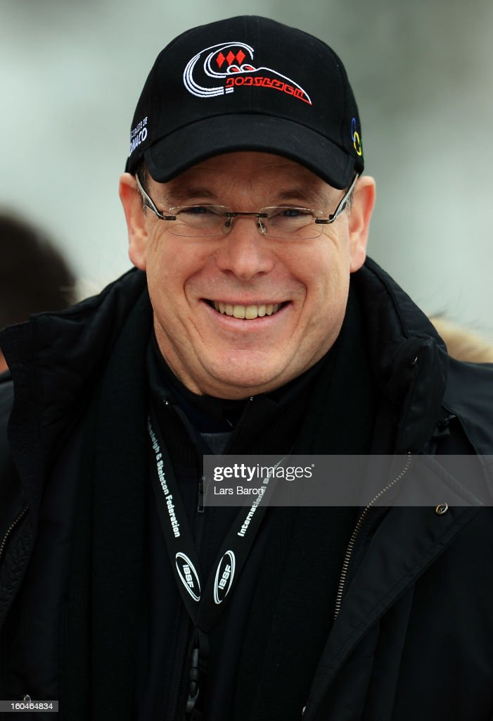 <a gi-track='captionPersonalityLinkClicked' href=/galleries/search?phrase=Prince+Albert+II+of+Monaco&family=editorial&specificpeople=201707 ng-click='$event.stopPropagation()'>Prince Albert II of Monaco</a> smiles after the women's skeleton final heat of the IBSF Bob & Skeleton World Championship at Olympia Bob Run on February 1, 2013 in St Moritz, Switzerland.