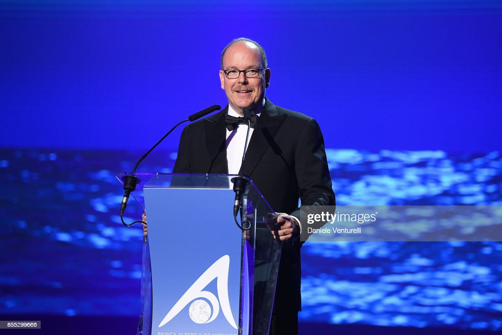 Prince Albert II of Monaco speaks on stage at the auction for the inaugural 'Monte-Carlo Gala for the Global Ccean' honoring Leonardo DiCaprio at the Monaco Garnier Opera on September 28, 2017 in Monaco, Monaco.