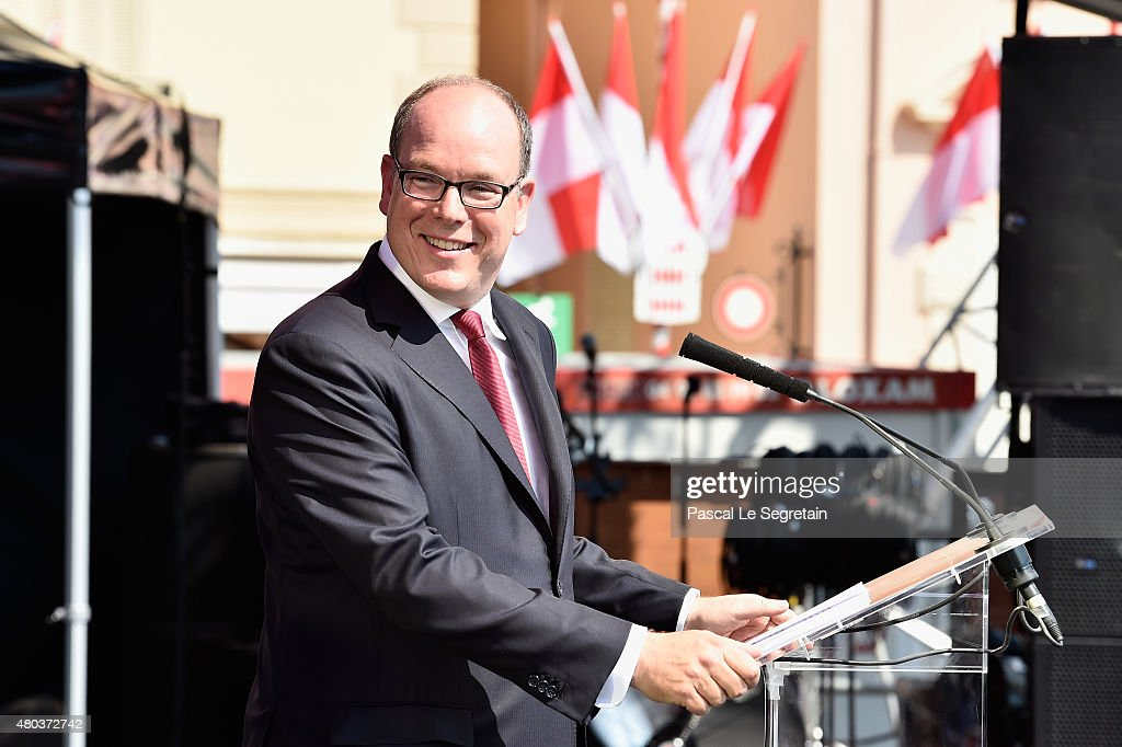 Prince Albert II of Monaco speaks onstage during the First Day of the 10th Anniversary on the Throne Celebrations on July 11 2015 in Monaco Monaco