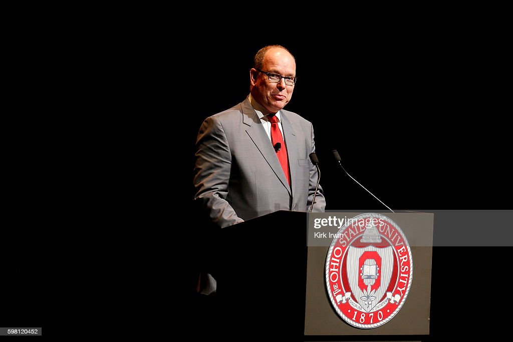 H Prince Albert II of Monaco speaks to an audience about climate change and sustainable energy at Mershon Auditorium at Ohio State University on...