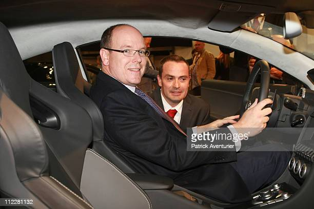 Prince Albert II of Monaco tests a supercar during the Top Marques Monaco show at the Grimaldi Forum on April 16 2001 in Monaco The Top Marques...