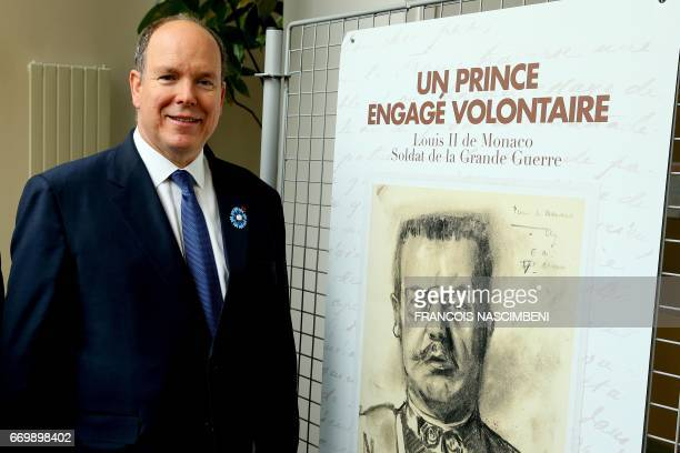 Prince Albert II of Monaco visits an exhibition dedicated to his great father Louis II who took part in the Second Battle of the Aisne on April 18...