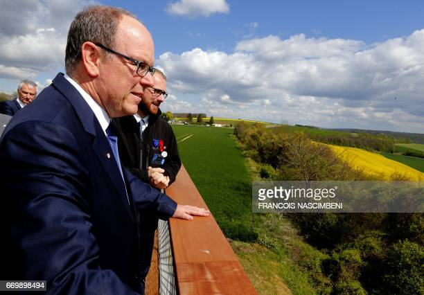 Prince Albert II of Monaco visits the battle field of the Second Battle of the Aisne in which his great father Louis II took part on April 18 2017 in...