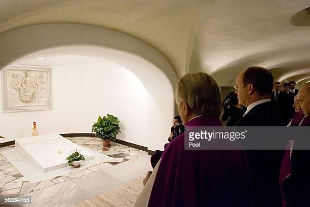 Prince Albert II of Monaco visits the crypt of John Paul II at St Peter's Basilica December 5 2005 in Vatican City