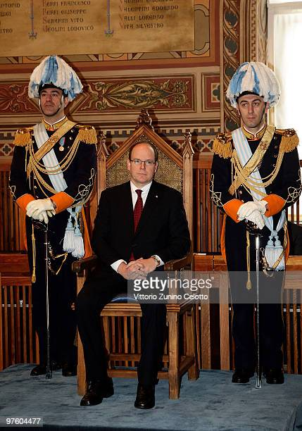 Prince Albert II of Monaco visits the government building Palazzo Pubblico during his state visit on March 10 2010 in San Marino San Marino