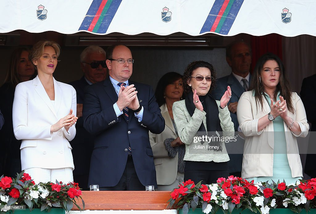 Prince Albert II, Princess <a gi-track='captionPersonalityLinkClicked' href=/galleries/search?phrase=Charlene+-+Princess+of+Monaco&family=editorial&specificpeople=726115 ng-click='$event.stopPropagation()'>Charlene</a>, <a gi-track='captionPersonalityLinkClicked' href=/galleries/search?phrase=Elisabeth-Anne+de+Massy&family=editorial&specificpeople=1121335 ng-click='$event.stopPropagation()'>Elisabeth-Anne de Massy</a> and Melanie-Antoinette de Massy attend the final between Roger Federer of Switzerland and Stanislas Wawrinka of Switzerland during day eight of the ATP Monte Carlo Rolex Masters Tennis at Monte-Carlo Sporting Club on April 20, 2014 in Monte-Carlo, Monaco.