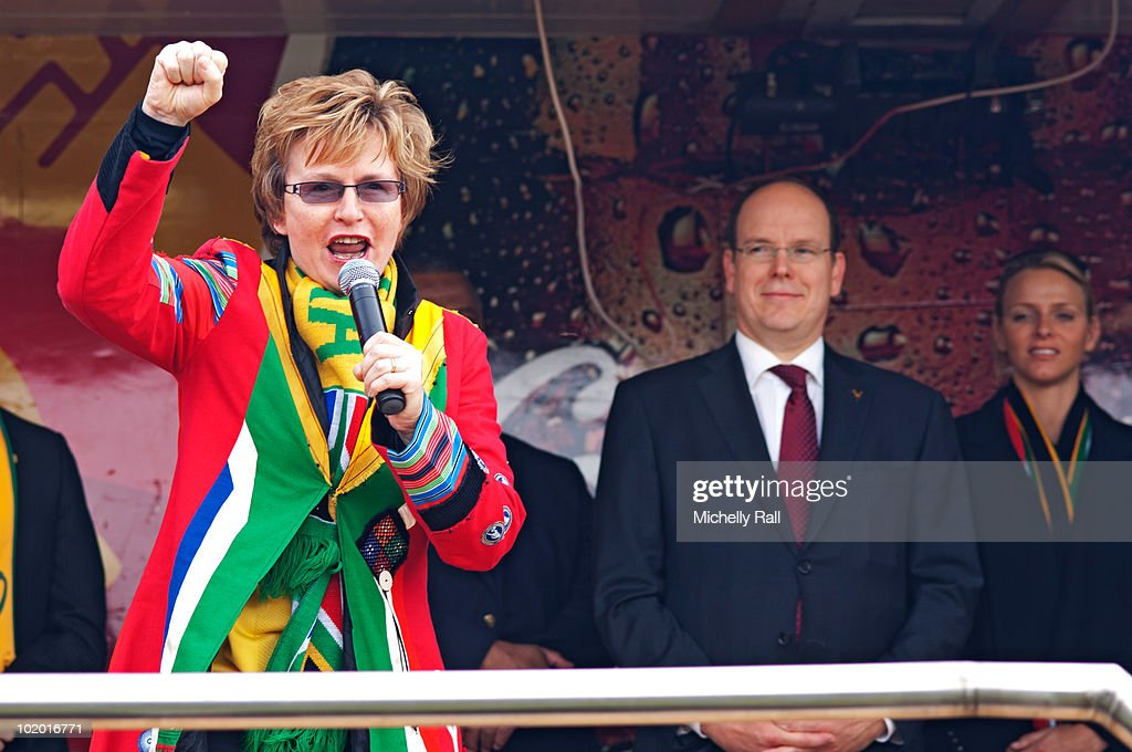 Prince Albert II watches as <a gi-track='captionPersonalityLinkClicked' href=/galleries/search?phrase=Helen+Zille&family=editorial&specificpeople=869313 ng-click='$event.stopPropagation()'>Helen Zille</a> gives a speech at the inauguration of Cape Town Sports Centre on June 12, 2010 in Cape Town, South Africa.