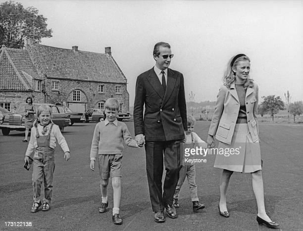 Prince Albert of Belgium and Princess Paola of Belgium enjoy a weekend away on a farm with their three children Princess Astrid of Belgium Prince...