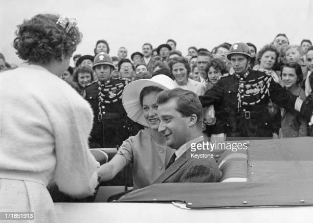 Prince Albert of Belgium later King Albert II of Belgium and Princess Paola of Belgium greet fans whilst attending the Red Cross Ceremonies at...