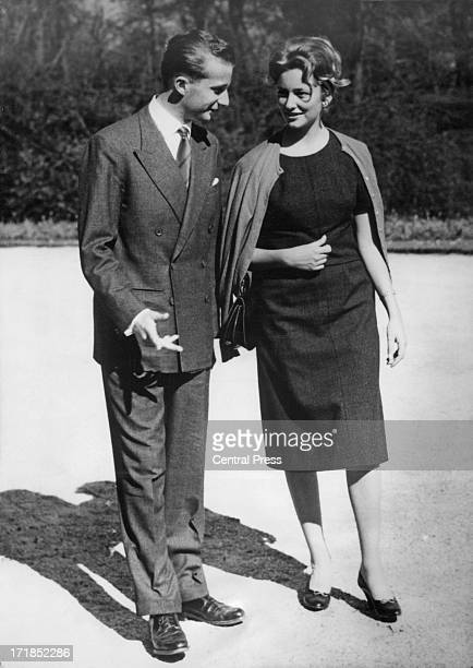 Prince Albert of Belgium later King Albert II of Belgium and Princess Paola of Belgium announce their engagement and pose for photographers at the...