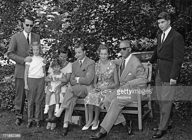 Prince Albert of Belgium later King Albert II of Belgium and Princess Paola of Belgium announce their engagement and pose for a family portrait at...