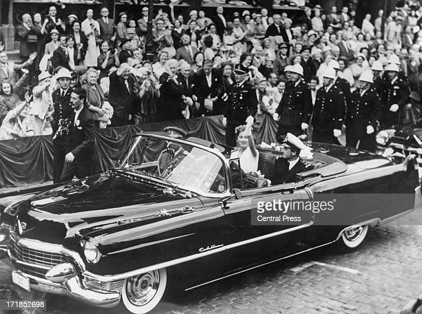 Prince Albert of Belgium later King Albert II of Belgium and Princess Paola of Belgium meet fans gathered in La Grande Place whilst on a tour of...