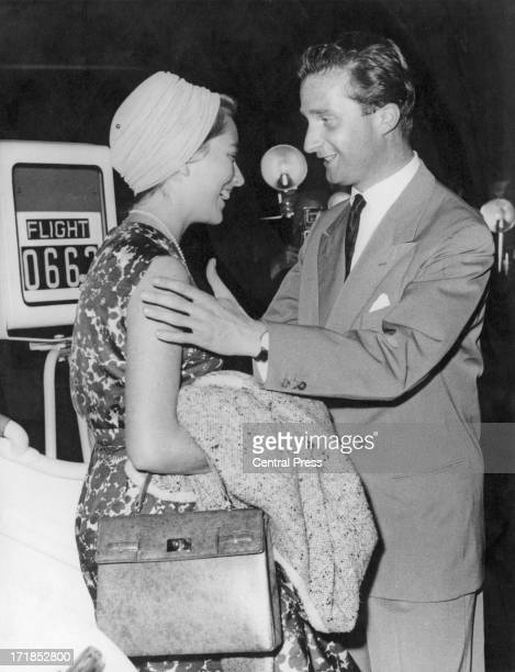 Prince Albert of Belgium later King Albert II of Belgium greets his fiance Princess Paola of Belgium on her arrival at Brussels Airport 6th June 1959