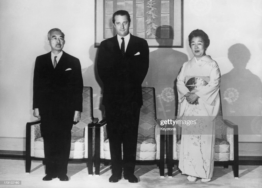 Prince Albert of Belgium (later King Albert II of Belgium) (centre) meets with Emperor Hirohito (1901 - 1989) and Empress Nagako (Empress Kojun, 1903 - 2000) at the Imperial Palace, Tokyo, 20th April 1970. Prince Albert is in Japan to visit the 'Expo '70' World's Fair in Osaka.