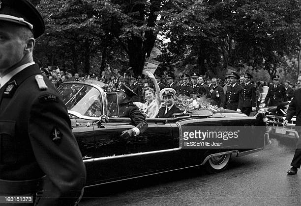 Prince Albert Of Liege And His Bride Paola Ruffo Di Calabria In Liege En Belgique à Liège en juin 1959 Voyage officiel du prince ALBERT DE LIÈGE et...