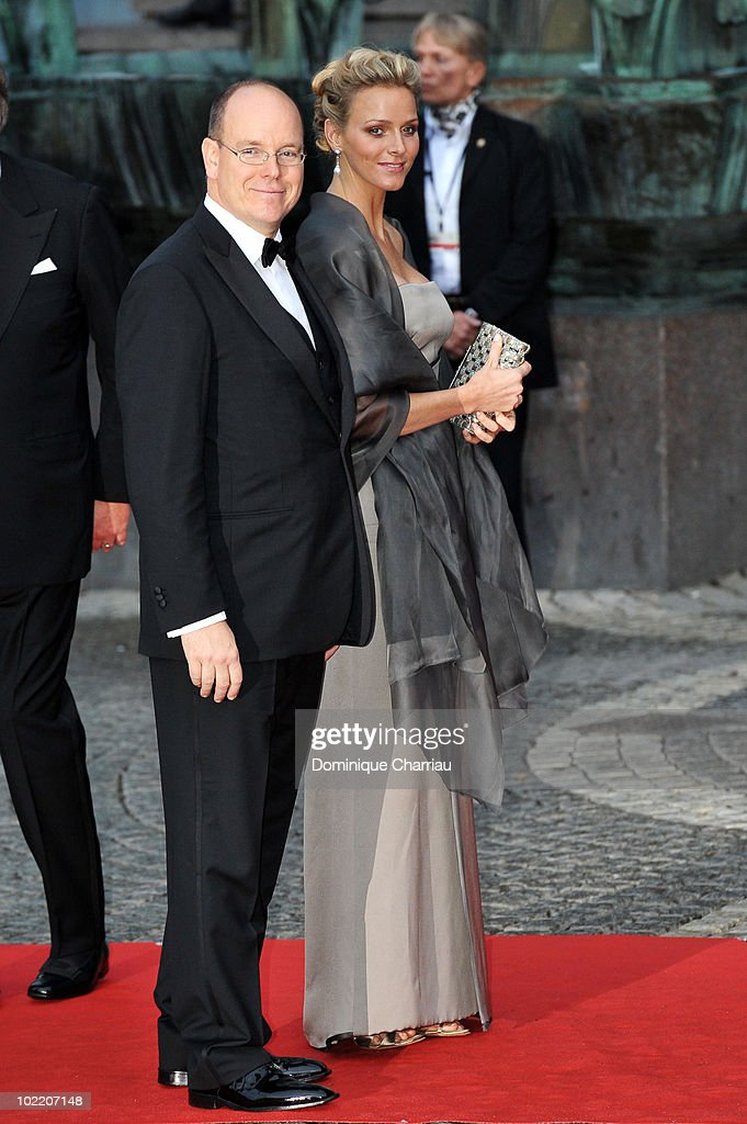Prince Albert of Monaco and Charlene Wittstock attend the Government Gala Performance for the Wedding of Crown Princess Victoria of Sweden and Daniel Westling at Stockholm Concert Hall on June 18, 2010 in Stockholm, Sweden.