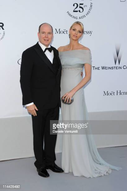 Prince Albert of Monaco and Charlene Wittstock attends amfAR's Cinema Against AIDS Gala during the 64th Annual Cannes Film Festival at Hotel Du Cap...