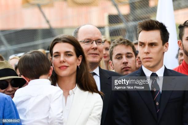Prince Albert of Monaco and Charlotte Casiraghi and Louis Ducruet Sebastien Buemi of Swizerland during the Grand Prix of Monaco on May 13 2017 in...