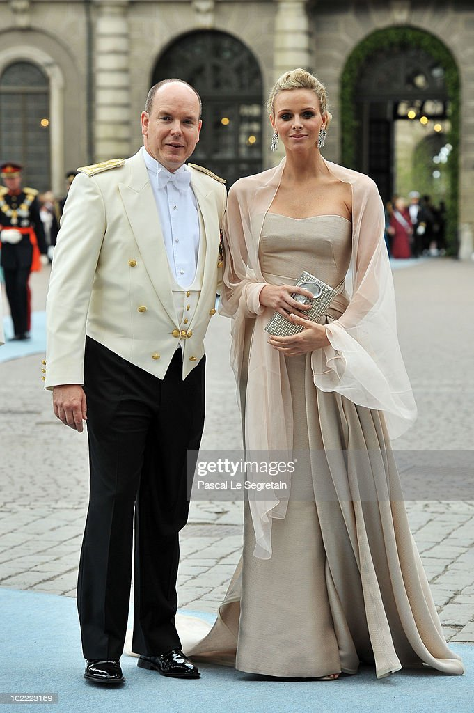 Prince Albert of Monaco and girlfriend Charlene Wittstock attend the wedding of Crown Princess Victoria of Sweden and Daniel Westling on June 19, 2010 in Stockholm, Sweden.