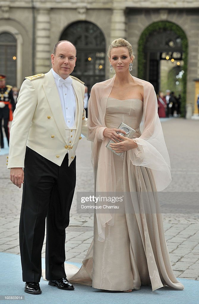 Prince Albert of Monaco and girlfriend <a gi-track='captionPersonalityLinkClicked' href=/galleries/search?phrase=Charlene+-+Princesa+de+M%C3%B3naco&family=editorial&specificpeople=726115 ng-click='$event.stopPropagation()'>Charlene</a> Wittstock attend the wedding of Crown Princess Victoria of Sweden and Daniel Westling on June 19, 2010 in Stockholm, Sweden.