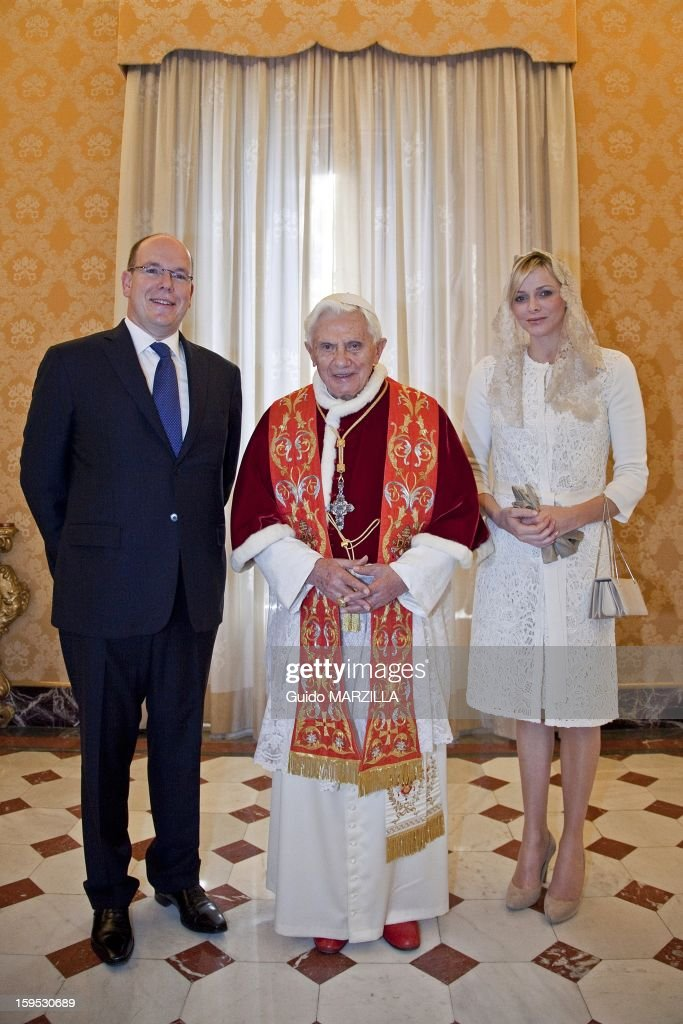 Prince Albert of Monaco and his wife princess <a gi-track='captionPersonalityLinkClicked' href=/galleries/search?phrase=Charlene+-+Princesa+do+M%C3%B3naco&family=editorial&specificpeople=726115 ng-click='$event.stopPropagation()'>Charlene</a> have been received by Pope Benedict XVI during a private audience at the Vatican on January 12, 2013. Photo by 2430/Gamma